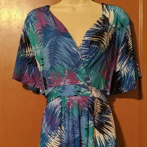 SIZE LARGE-ATTENTION WRAP LIKE DRESS-MULTICOLOR